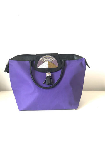 Purple African tote bag maasai