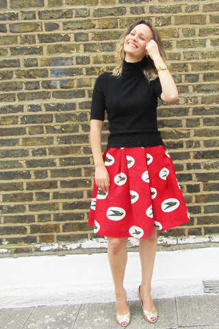 Sapelle Shop boutique African print skirt pagne ankara red blue
