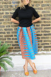 Sapelle African print blue turquoise skirt clothing fashion boutique