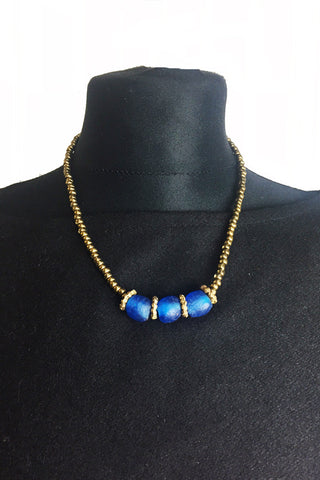 Royal Blue Krobo & Brass Bead Necklace