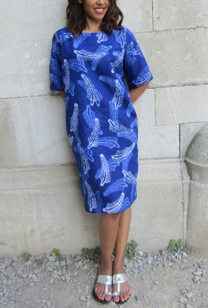HAND-DYED Cotton ADIRE Tunic Shift Dress