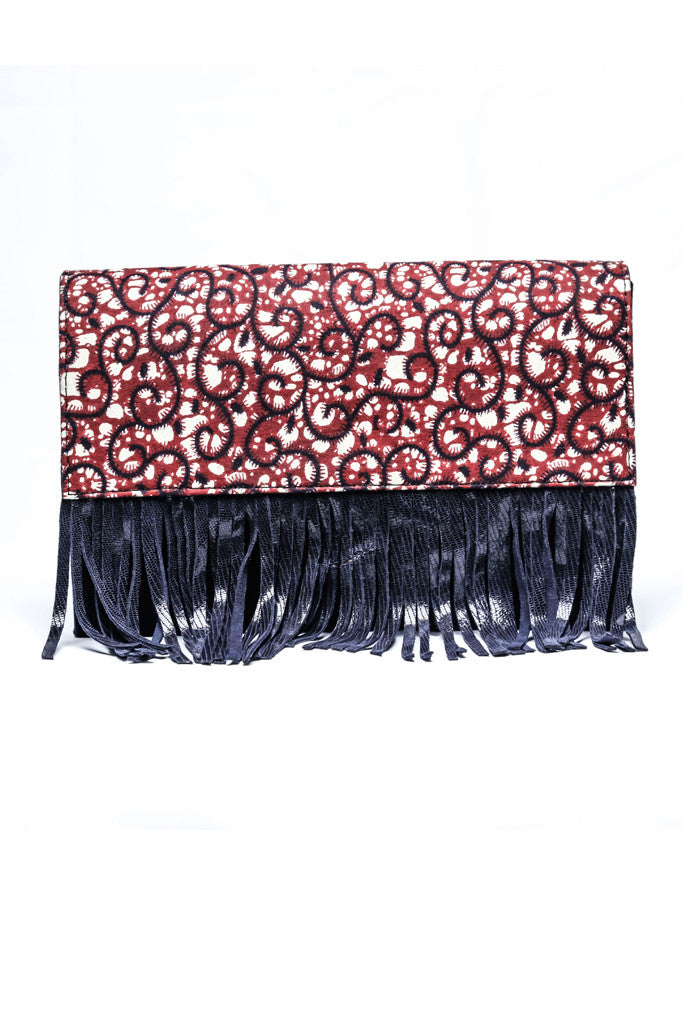 Mulberry 'Spaghetti' African Print Fringe Purse