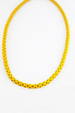 Shweshwe Print Necklace and Bracelet Set in Sunflower Yellow