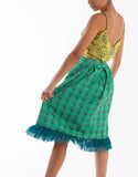 Dande Pleated Scuba & Mesh Skirt