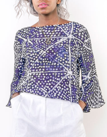 Sapelle Adire Blue African Print Top
