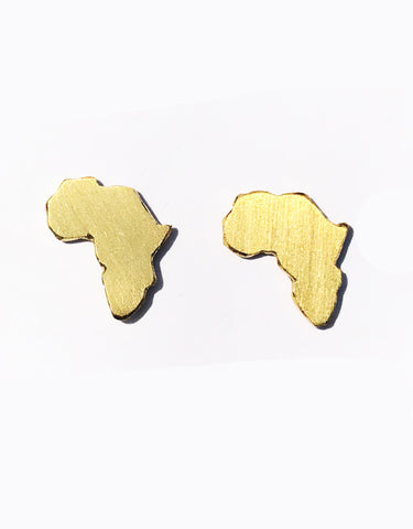 Hand-made Africa Stud Earrings - Brass