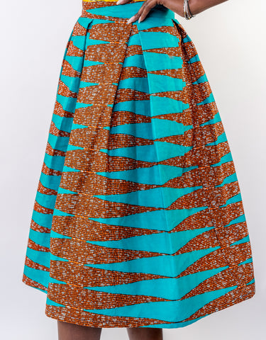 Sapelle African Print Skirt Blue