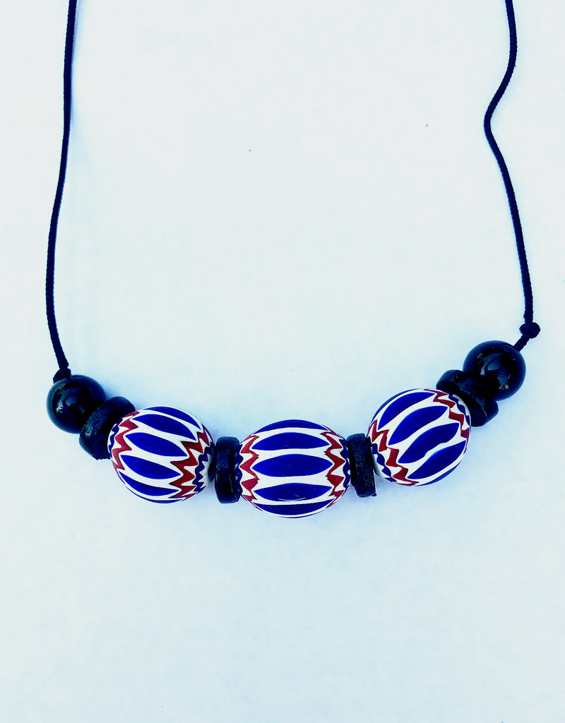 Hand-beaded 'Chevron' Bead Necklace
