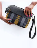 Handwoven 'Black Gold' Aso Oke & Leather Handbag