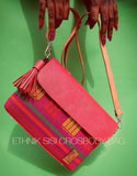 Handwoven 'Amaros' Aso Oke & Leather Handbag