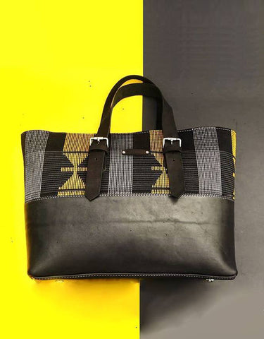 Handwoven 'Black Gold' Aso Oke & Leather Tote