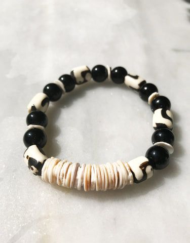 Shell, Glass & Camel Bracelet