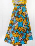 Sapelle African Print Wrap Skirt Yellow Blue