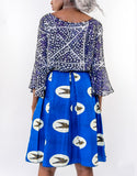 Sapelle blue African wax print skirt