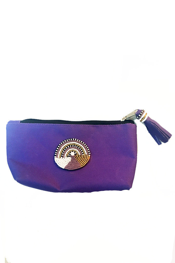 Maasai Beaded Makeup Bag - Purple