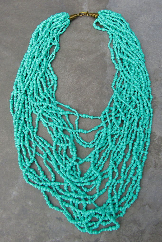 Turquoise Beaded Strand Necklace