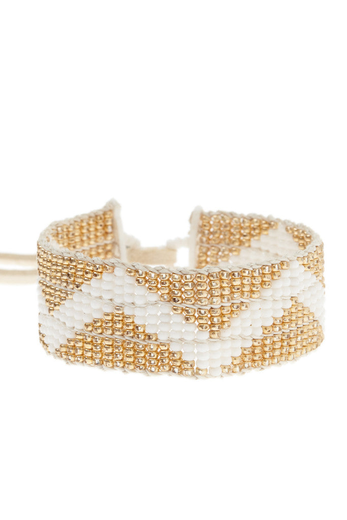 ZigZag Warrior Bracelet in White & Gold