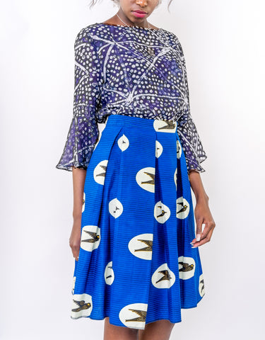 Sapelle blue African wax print skirt adire