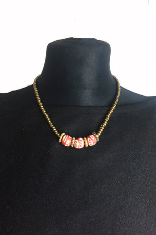 Terracotta Krobo & Brass Bead Necklace
