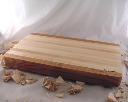 "18"" x 10"" x 2"" Medium Maple Cutting Board With Cherry Fringe"