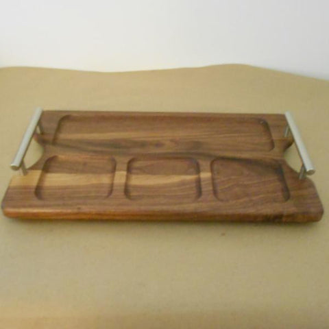 Medium Walnut Divided Tray - Rectangle