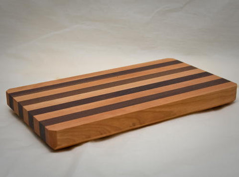 "16"" x 9"" x 1.5"" Medium Cherry/Walnut Alternating Cutting Board"