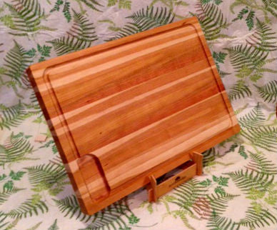 "20"" x 14"" x 1.5"" Large Cherry Cutting Board with Juice Groove"