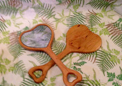 Heart Shaped Hand Mirror - Cherry