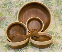 Salad Bowl Set - Walnut with Tiger Maple Rim