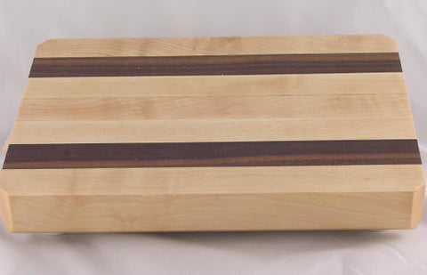 "10"" x 7"" x 1.5"" Small Maple with Walnut Accents Cutting Board"
