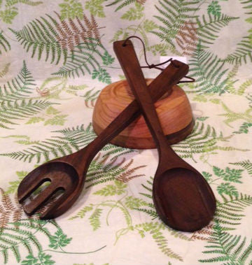 Walnut Salad Server Set