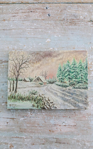 Vintage French Winter Scene Oil Painting