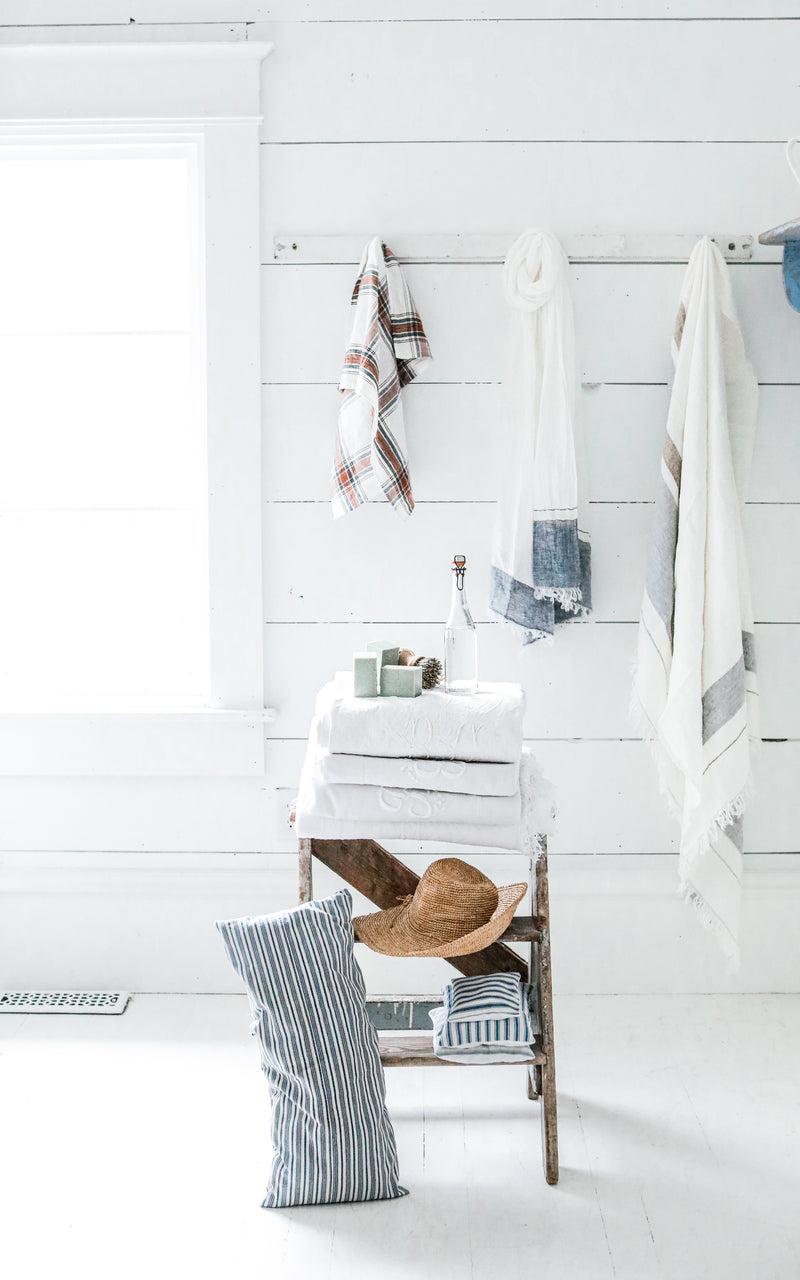 The Belgian Towel Fouta Oyster Stripe