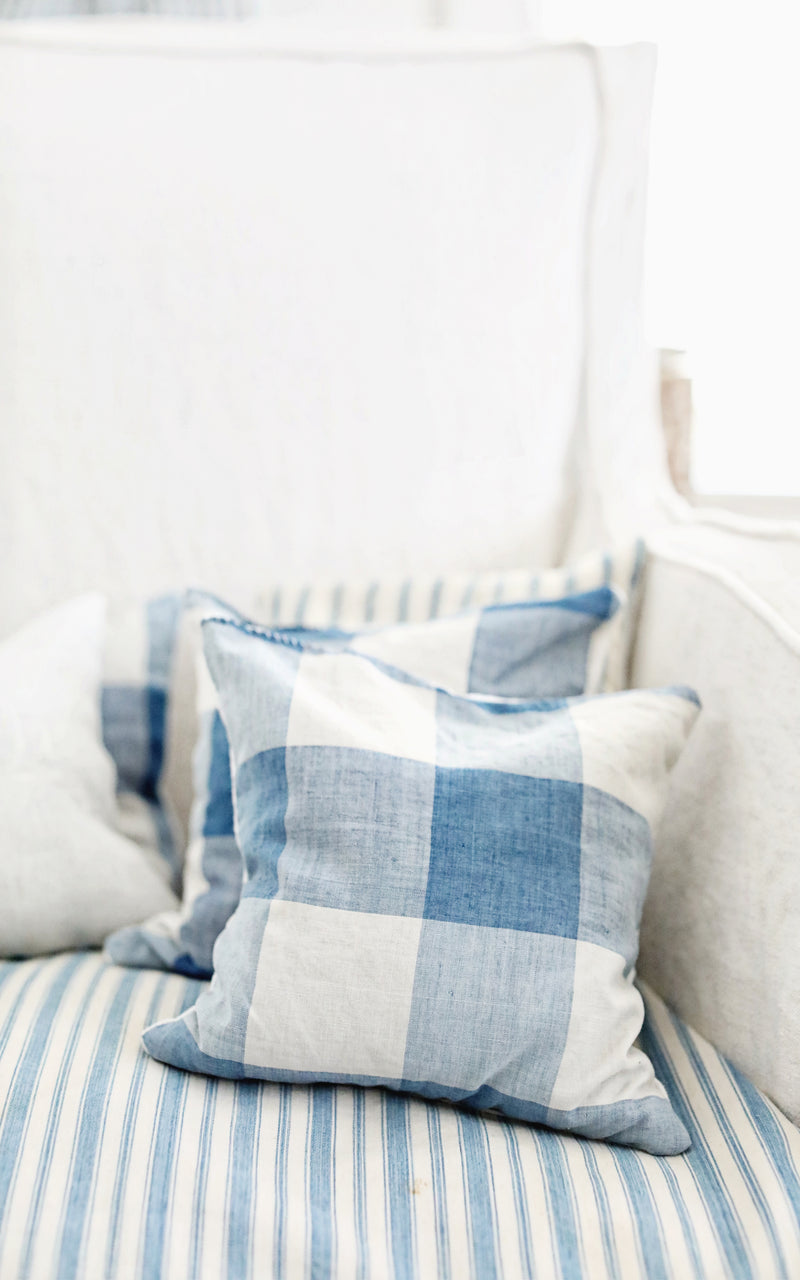 Vintage French Checked Lavender Pillow