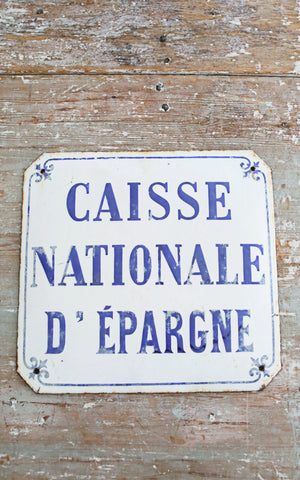 Vintage French Enamel Metal Sign