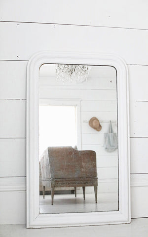Vintage French White Mirror