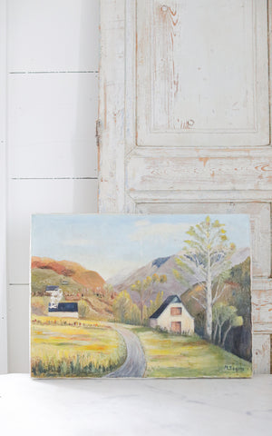 Vintage French Oil Painting White Barn On Canvas