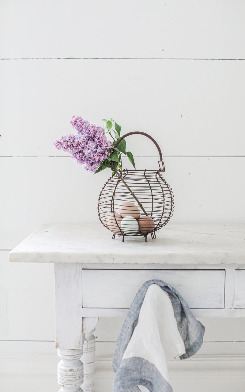 Petite Vintage French Egg Basket