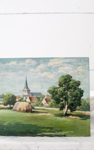Vintage French Oil Painting Farm Village Scene