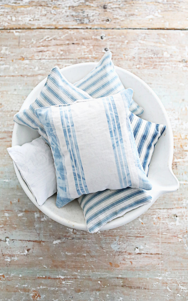 Faded Blue Wide Striped Ticking Lavender Pillow