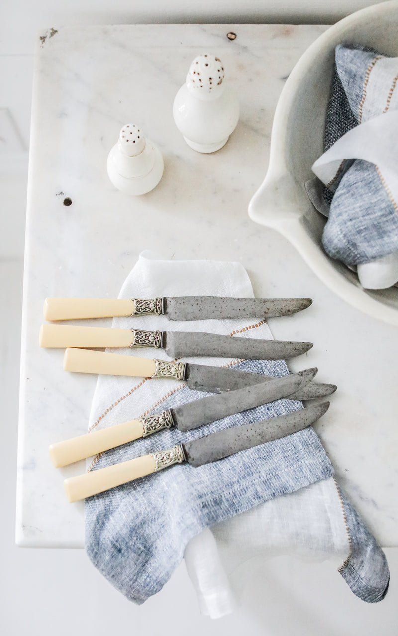 Set of Five Vintage French Knives and Belgian Linen Napkin Set