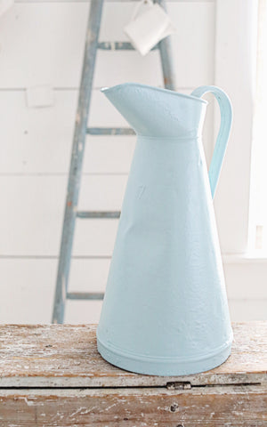 Vintage French Painted Zinc Pitcher