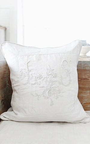 Vintage French Linen Monogrammed LS Pillow Slip