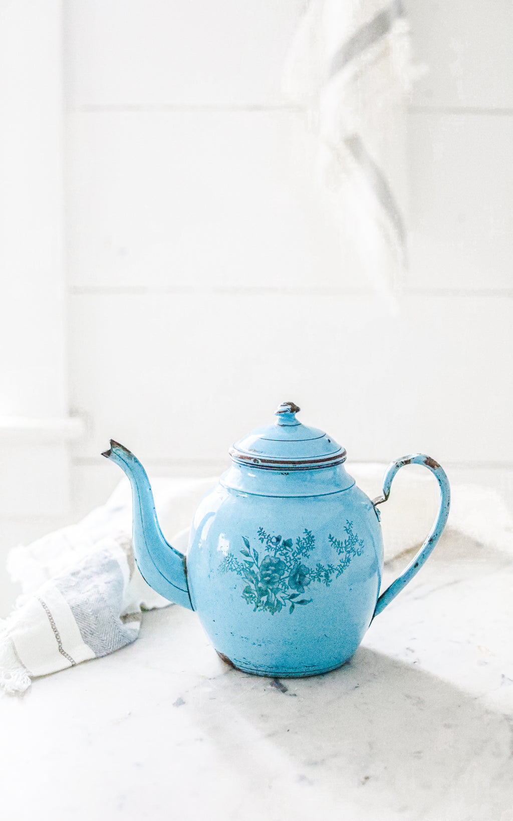 Vintage French Enamelware Tea Pot