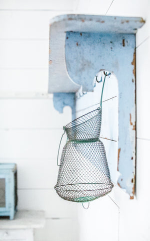 Vintage French Green Wire Fish Trap, Belgian Linen Cloth, and French Clay Lavender Soap Set