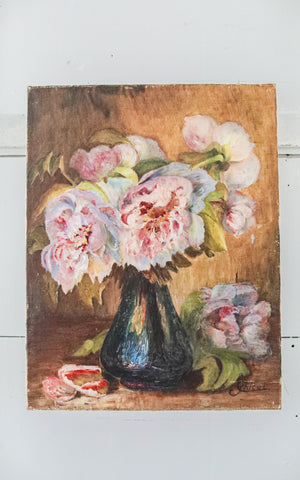 Vintage French Peony Oil Painting on Canvas