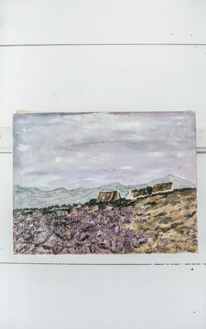 Vintage French Lavender Field Oil Painting on Canvas