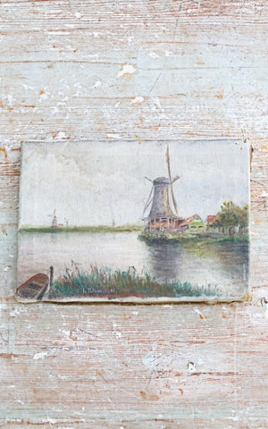 Vintage Dutch Painting on Canvas