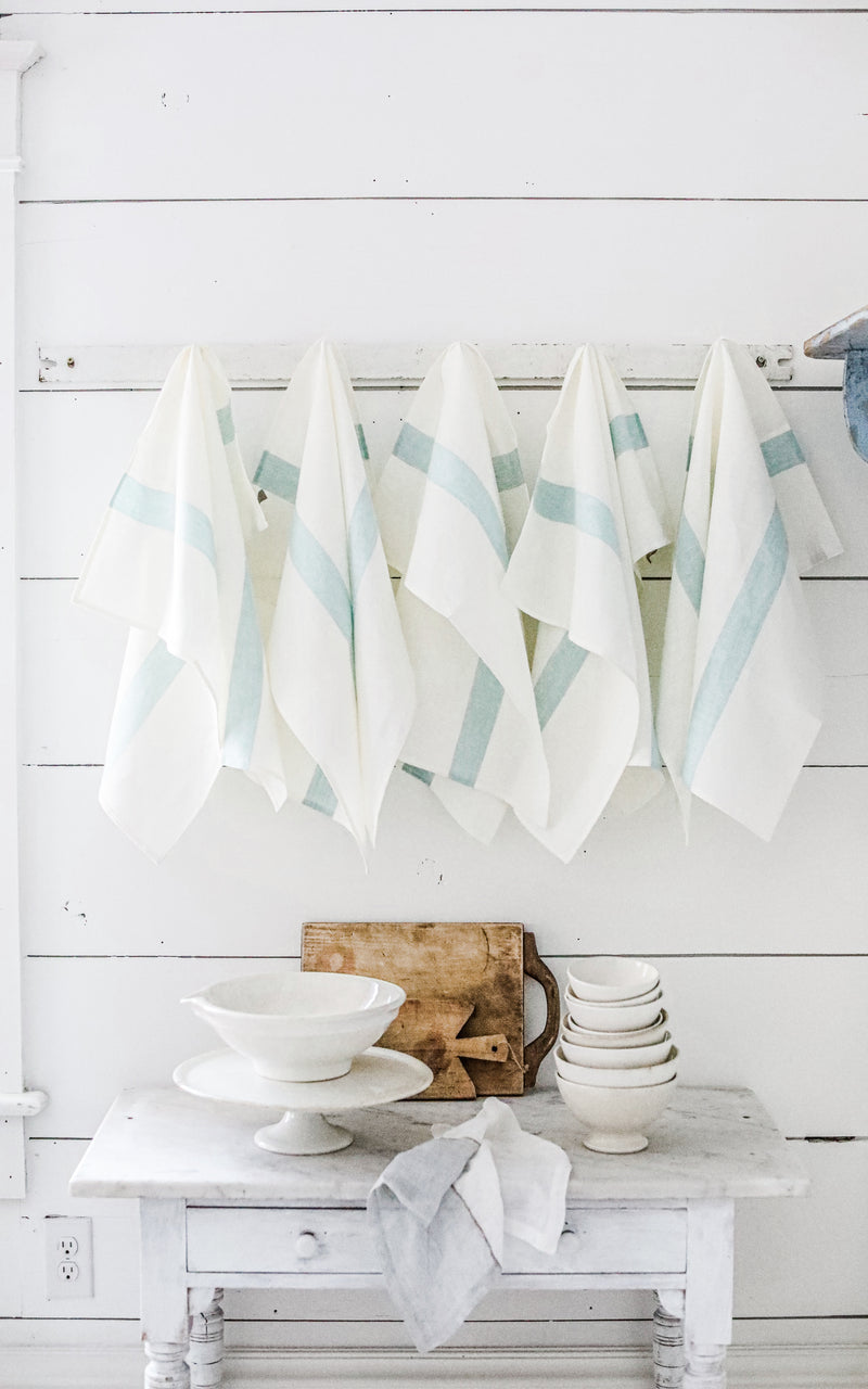 Turquoise Striped Porticcio Belgian Linen Tea Towel