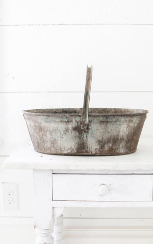 Vintage French Zinc Trugg